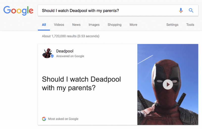 Deadpool answers question on Google