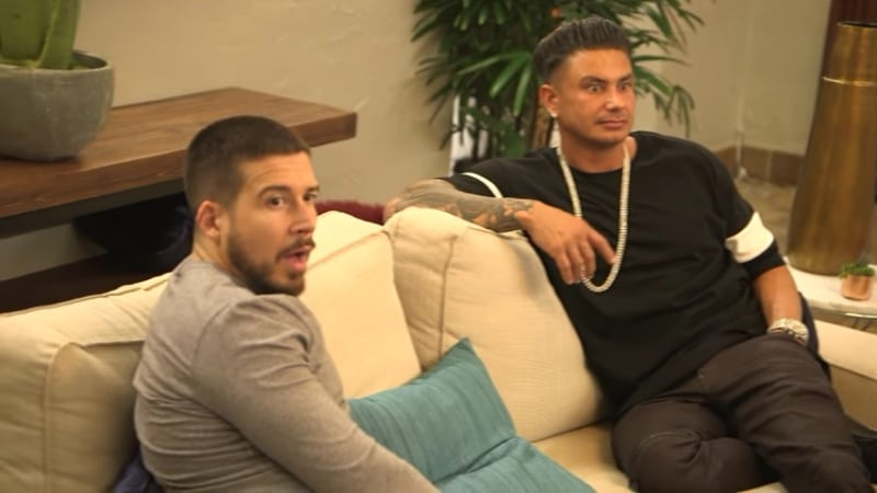 Vinny and Pauly can't believe what Angelina is telling them on Jersey Shore Family Vacation