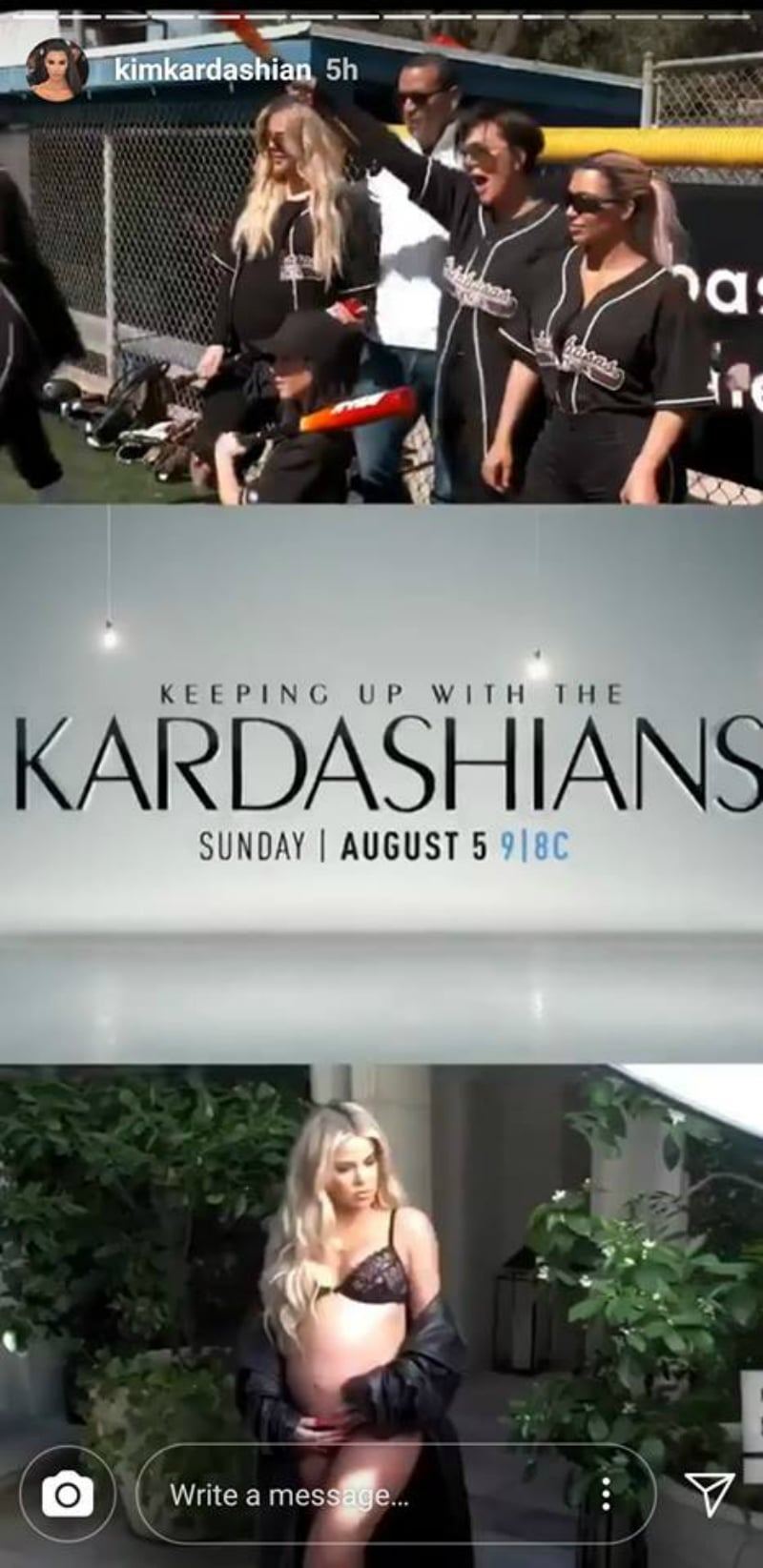 A screenshot of the Keeping Up With The Kardashians promo from Kim Kardashian's Instagram stories