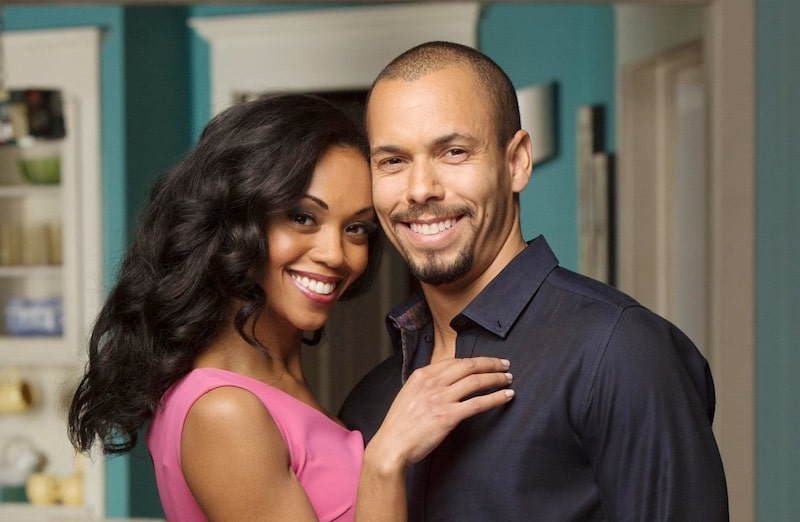 Mishael Morgan as Hilary and Brynton James as Devon on The Young and the Restless