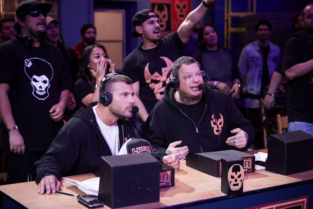 Striker and Vampiro commentating on Lucha Underground