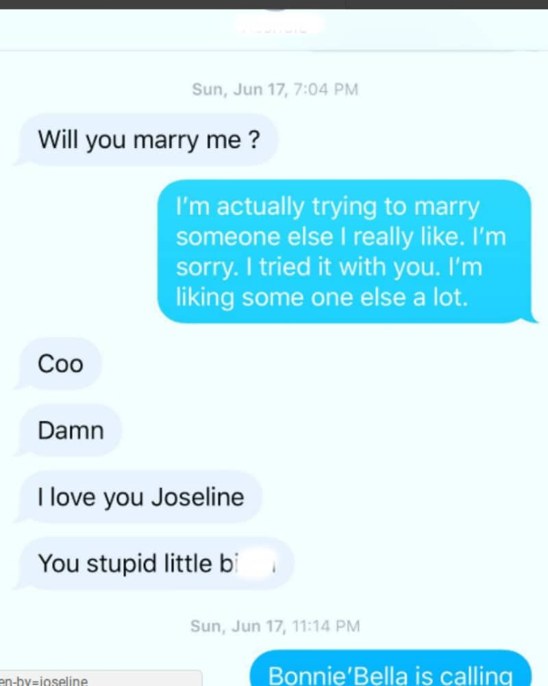 A screenshot of a text message from Stevie shared to Instagram by Joseline Hernandez