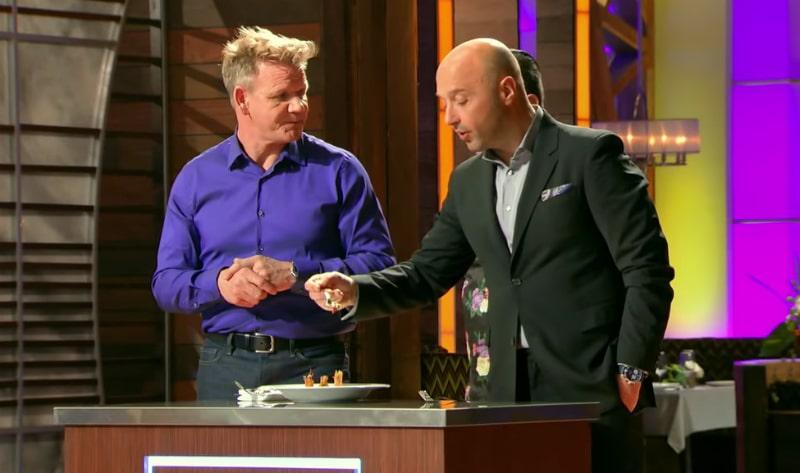 Chef Gordon Ramsay and Joe Bastianich sample dishes on MasterChef