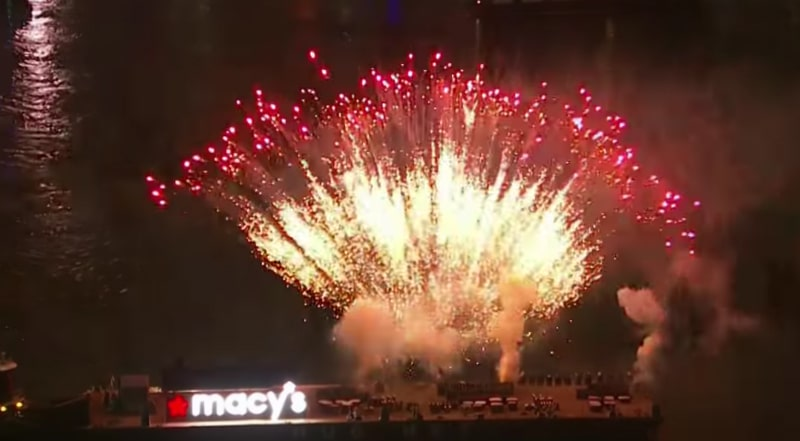 A fireworks display from the Macys 4th of July show in 2017