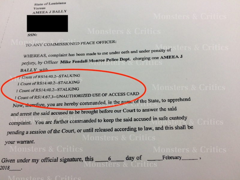 Mia Bally's arrest warrant