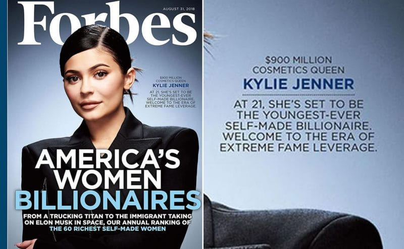 Kylie Jenner on the cover of Forbes for America's Women Billionaires