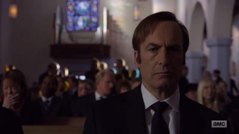 At Chuck's funeral, Odenkirk's Jimmy is now on his way to becoming Saul