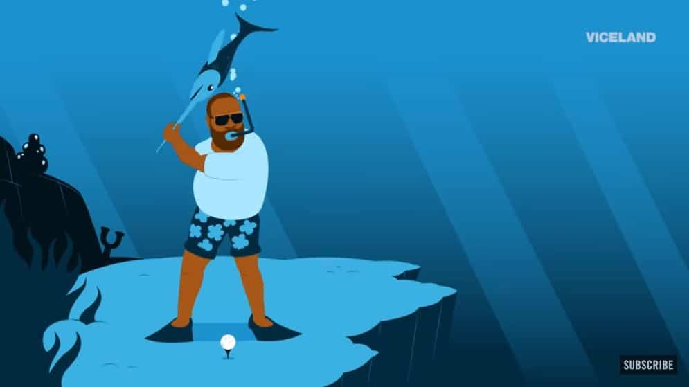 An animation depicts what Ross thinks golf is normally like