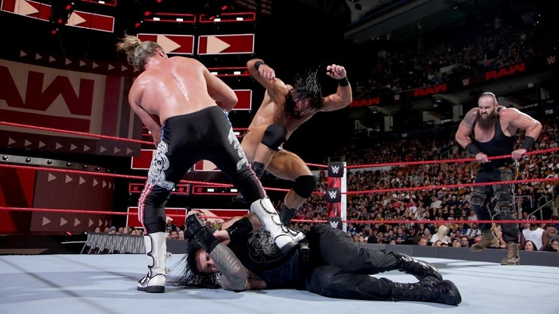 Dolph and Drew stomp Roman Reigns.