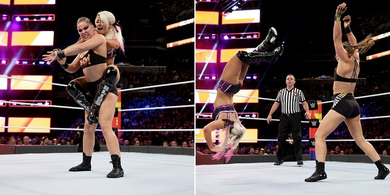 Rousey sends Bliss flying.