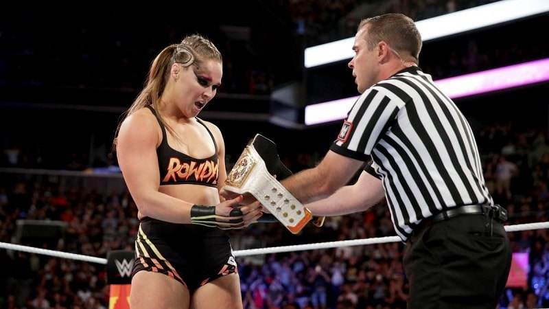 Rousey wins Raw Women's Title.