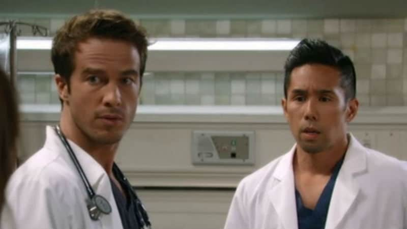Brad and Lucas at General Hospital in a patient room