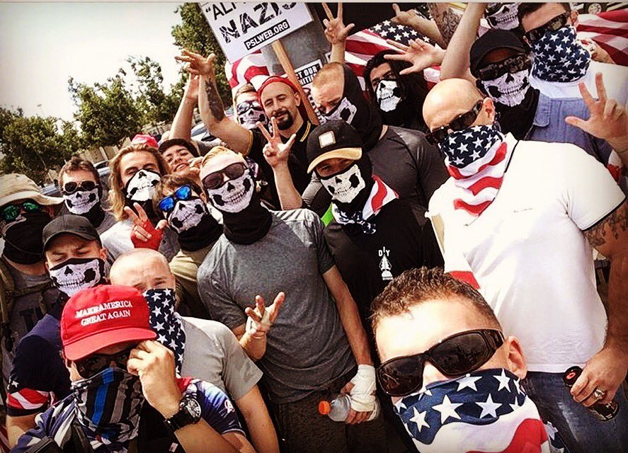 DIY Division in San Bernardino with Juan Benitez Cadavid from the Proud Boys in middle with arm raised