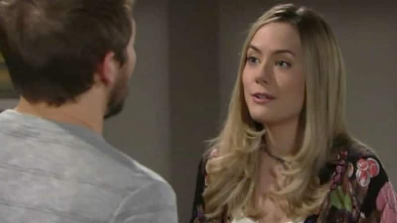 Hope and Liam talking on The Bold and the Beautiful