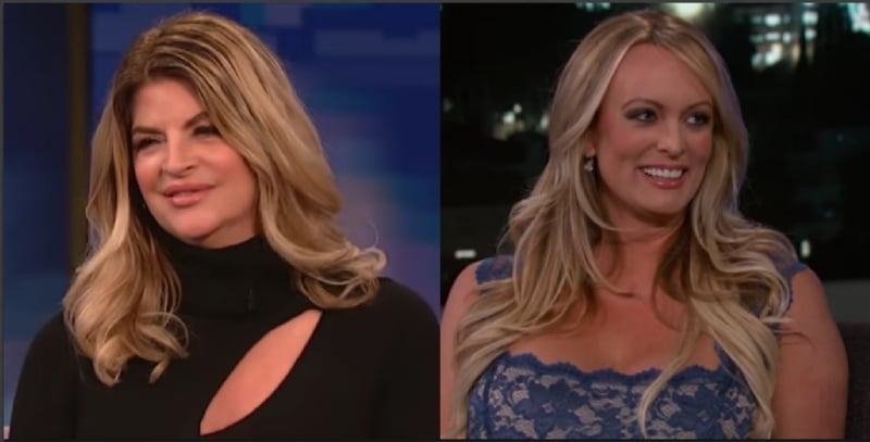 Kristie Alley during an appearance on The Wendy Williams Show and Stormy Daniels on Jimmy Kimmel Live