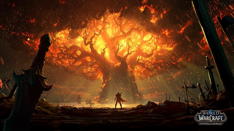 The Queen of the Forsaken, Sylvanas Windrunner, burns the World Tree to the ground in World of Warcraft: Battle for Azeroth