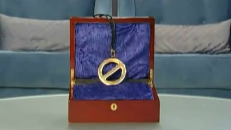 The Veto necklace in the box on the table