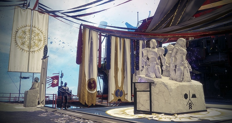The Solstice of Heroes statue in the Tower on Destiny 2