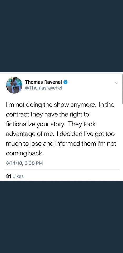 Thomas Ravenel's tweet