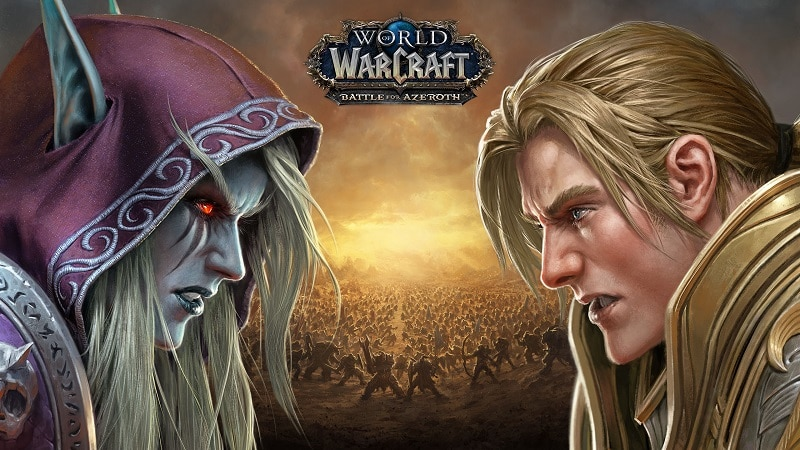 Sylvanas Windrunner of the Horde faces off against King Anduin Wrynn of the Alliance in World of Warcraft: Battle for Azeroth