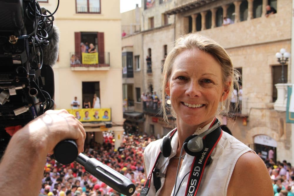 Gretchen Eisele in Vilafranca del Penedés where the human towers competed August 30, 2918 in the Festa Major of Vilafranca del Penedès