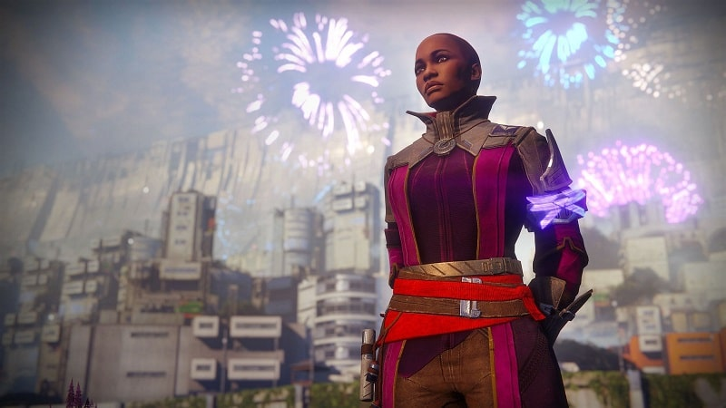 Ikora Ray of Destiny 2 stands outside the city during a celebration