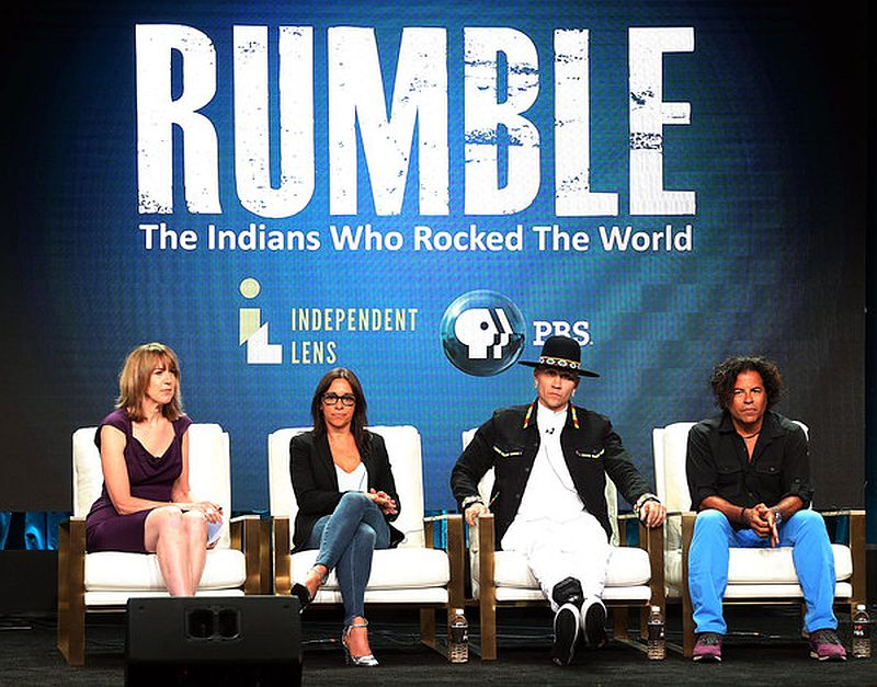 """Executive Producer Lois Vossen, producer Christina Fon, Jaime Luis Gomez """"Taboo"""", and recording Steve Salas of the television show """"Rumble"""" at the PBS Summer 2018 Television Critics Association Press Tour"""