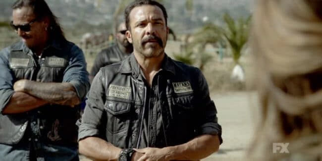 Still Image From Mayans M.C. Murciélago/Zotz Preview. President Bishop leads the conversation with a woman at her horse ranch. Pic credit: FX