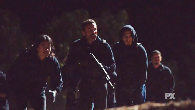 Still Image From Mayans M.C. Murciélago/Zotz Preview. President Bishop leads the Mayans M.C. on a recon mission at the horse ranch. Pic Credit: FX