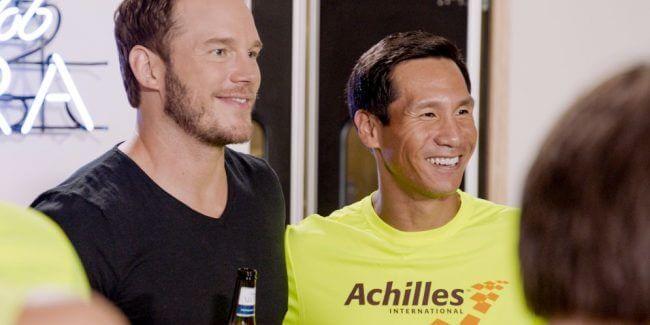 Watch as Chris Pratt totally surprises Achilles athletes in NYC marathon