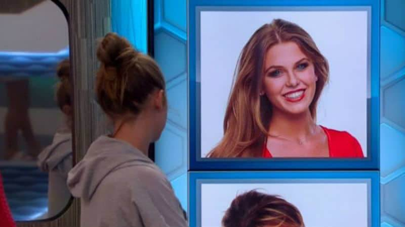 Haleigh looking at nomination wall featuring her and Sam