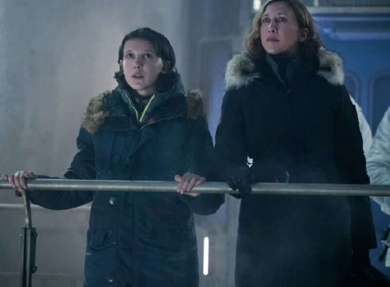 Vera Farmiga (Dr. Emma Russell) and Millie Bobby Brown (Madison Russell)