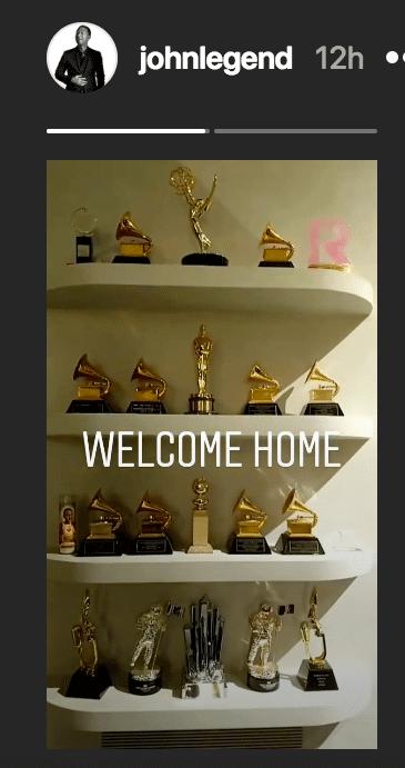 John Legend's award shelf