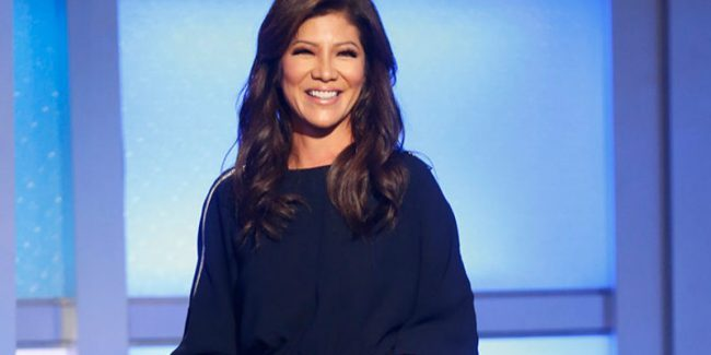 Julie Chen outside of the Big Brother house