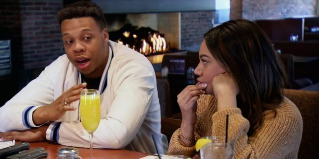 Tristan Thompson sitting next to Mia Bally at a restaurant on Married at First Sight