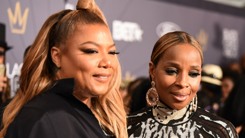 Queen Latifah and Mary J. Blige walk the Black Girls Rock red carpet