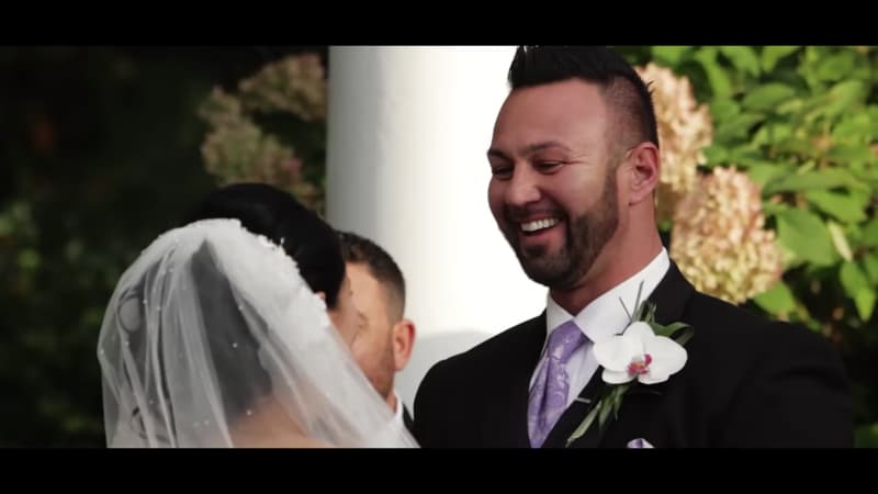 Jenni Farley and Roger Mathews on their wedding day