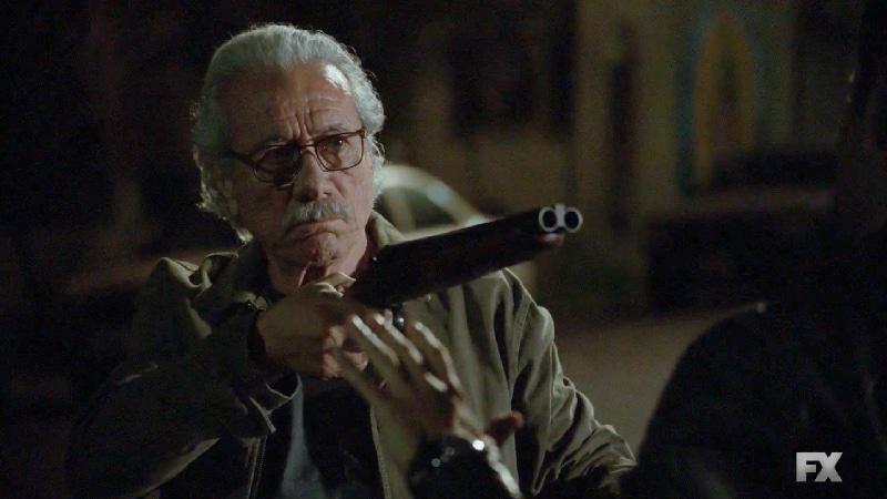 Still image:Mayans M.C. Búho/Muwan. Felipe Reyes (Edward James Olmos) holds agent Himmler at gunpoint. Pic credit: FX