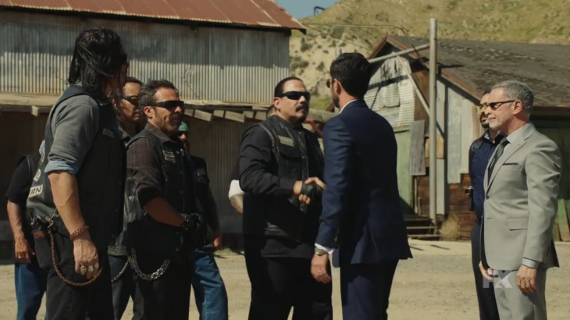 Still image from Mayans M.C. Escorpión/Dzec preview. Alvarez and his Souther California chapter meet with the Galindo cartel at an undisclosed location.