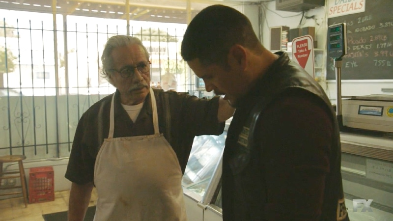 Still image from Mayans M.C. Escorpión/Dzec. Felipe (Edward James Olmos) advises his son EZ on the importance of trusting family. Pic credit: FX