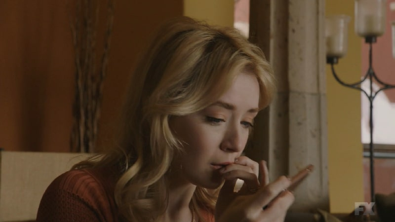 Still image:Mayans M.C. Búho/Muwan. Emily (Sarah Bolger) watches the new rebel video as she sees her son's pacifier as a direct message. Pic credit: FX