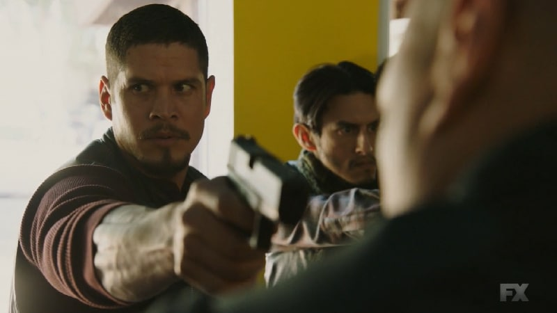 Still image from Mayans M.C. Escorpión/Dzec. Tension rises between the Santo Padre charter and the Galindo cartel grunts. Pic credit: FX