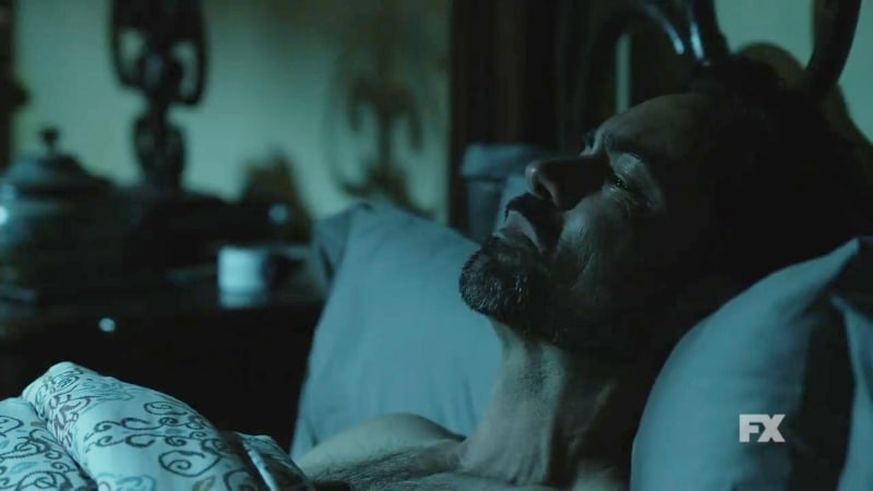 Still image from Mayans M.C. Búho/Muwan preview. Miguel loses sleep amidst the chaos. Pic credit: FX