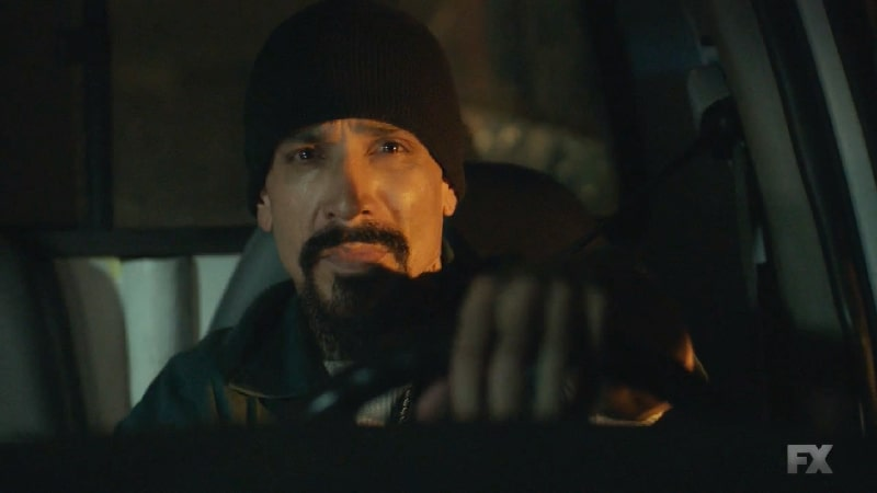 Still image from Mayans M.C. Perro/Oc. Creeper drives the truck of drug stuffed dresses before the hijacking. Pic credit: FX