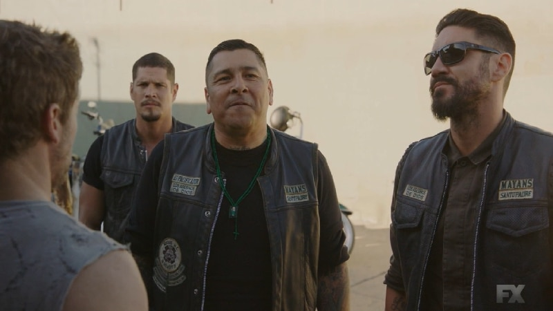 Still Image from Mayans M.C. Murciélago/Zotz. Sgt-At-Arms Hank leads Gilly, Angel and EZ to confront Dennis. Pic credit: FX