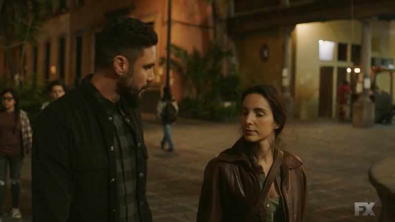 Still image from Mayans M.C. Escorpión/Dzec. Adelita and Angel discuss baby Cristobal and securing a buyer for the stolen heroin. Pic credit: FX