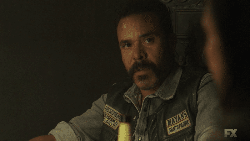 Still image from Mayans M.C. Perro/Oc. Bishop meets with his national president Marcus Alvarez and his title patch holders to make the next move. Pic credit: FX