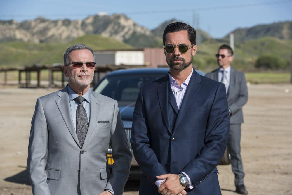 Playing consigliere is Tony Plana as Devante, advising Danny Pino as Miguel Galindo. Pic Credit: FX