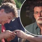 Rick and Marty Lagina and what's thought to be the piece of treasure found on The Curse of Oak Island
