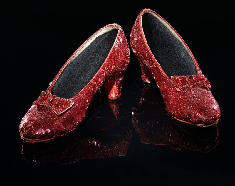 Ruby slippers from Wizard of Oz in still photo courtesy of the Smithsonian